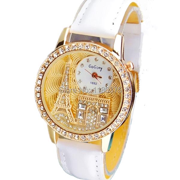 Женщины часы кварцевый наручные часы Gogoey марка роскошь эйфелева башня кожа часы леди свободного покроя золото часы relogios feminino
