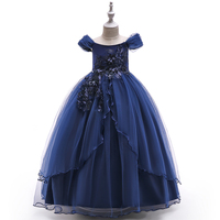 Fashion Dress Name Kids Frock Designs Pictures Children Clothes Girls Wedding Party Long Ball Gown Dress LP-213