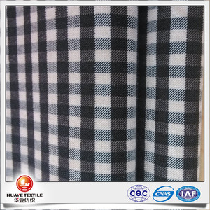 yarn dyed viscose polyester elastane black and white plaid flannel fabric