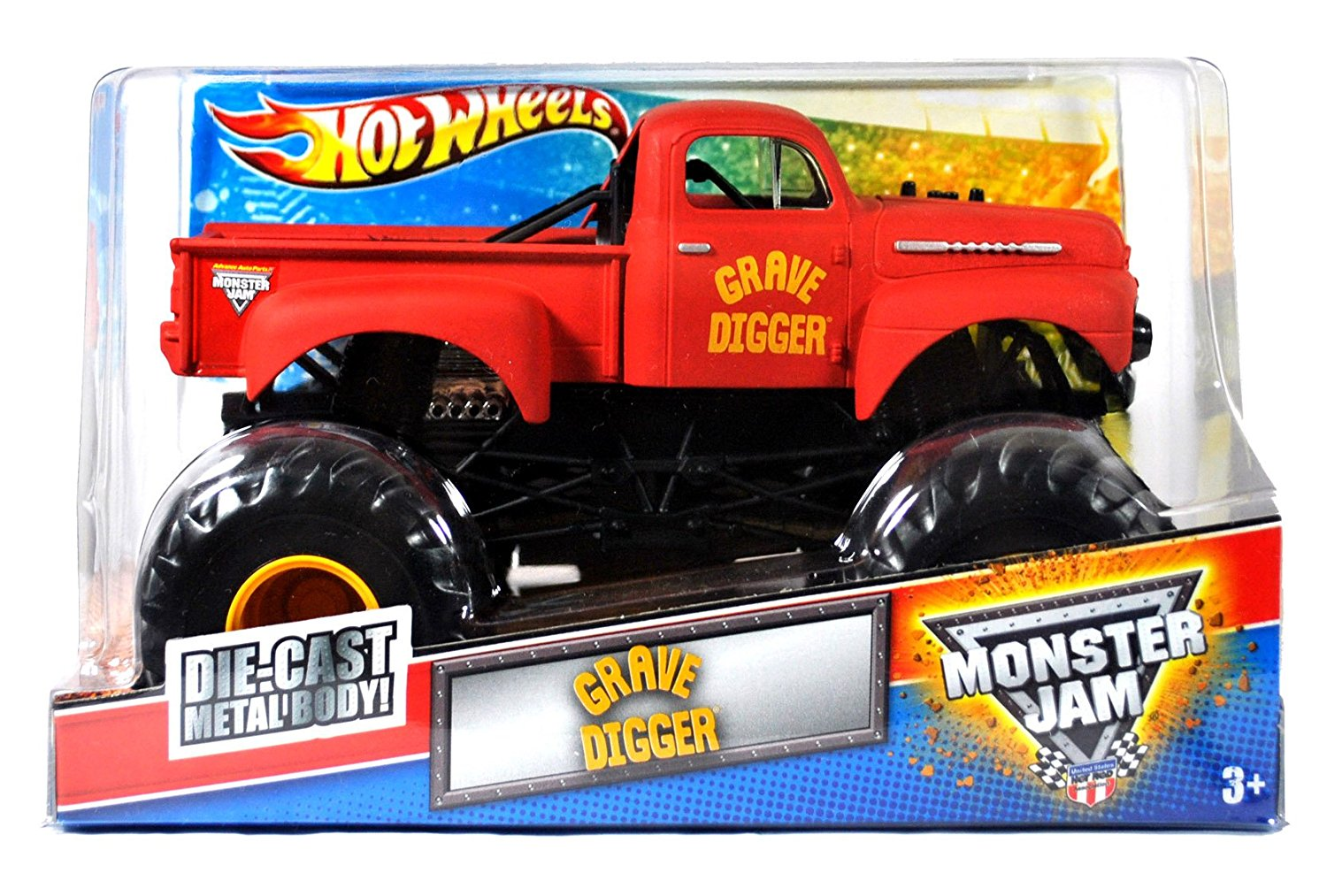 "Hot Wheels Monster Jam 1:24 Scale Die Cast Metal Body Official Monster Truck 2011 Series #T8513 - Dennis Anderson Red 1952 Ford Pick Up Mud Bogger aka GRAVE DIGGER with Monster Tires, Working Suspension and 4 Wheel Steering (Dimension : 7"" L x 5-1/2"" W x 4-1/2"" H)"