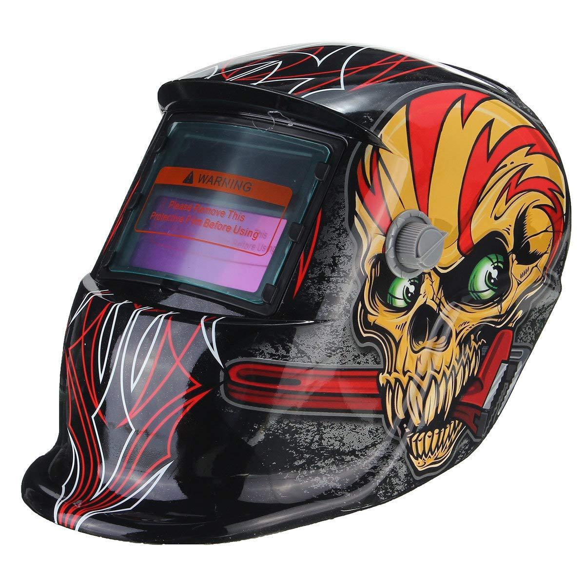 Red Skull Solar Auto Darkening Welding Helmet Welder Lens Mask - Electrical Welding Tools Helmet Mask & Goggles - 1 x Red Skull Solar Auto Darkening Welding Helmet