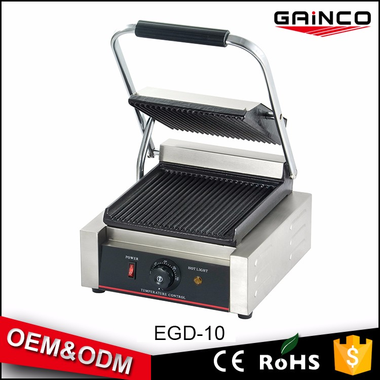 Popular for hotel and fast food kitchen equipment stainless steel electric panini contact grill EGD-10