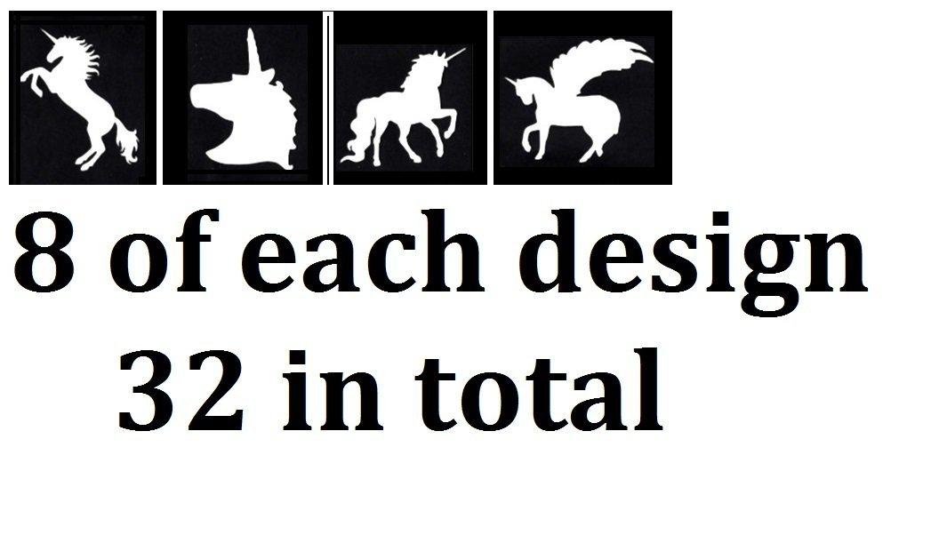 Unicorn Collection (32 Tattoo Glitter Airbrush Stencil Unicorn)