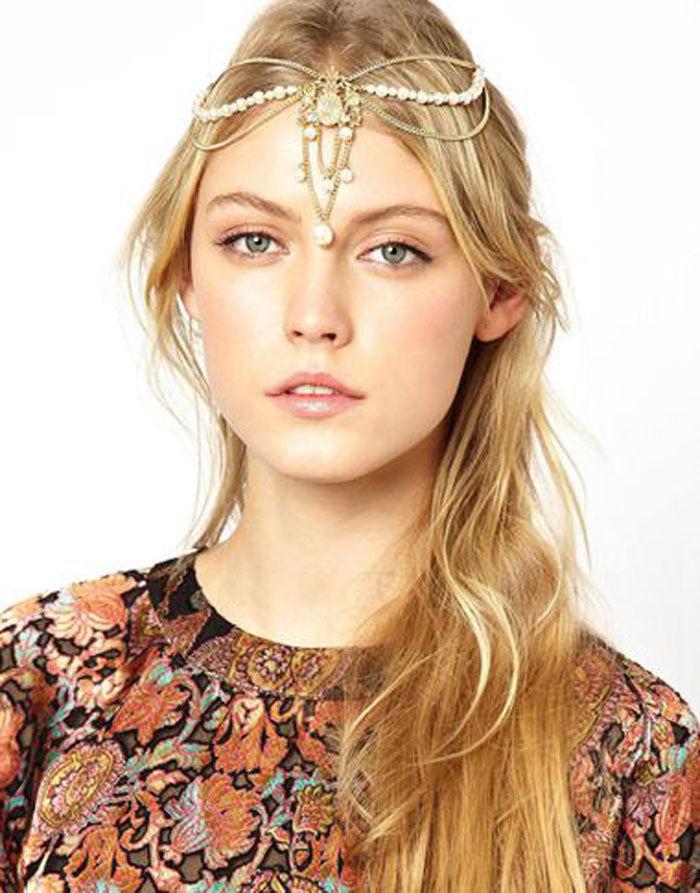 Frauen Kopf Ketten Schmuck Metall Strass Stirnband Kopfstück Haarband Neu