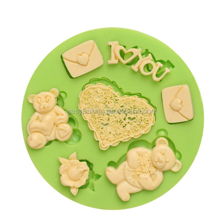 ES-0017 I LOVE YOU Teddy Bears Silicone Molds Fondant Mould for cake decorating.jpg