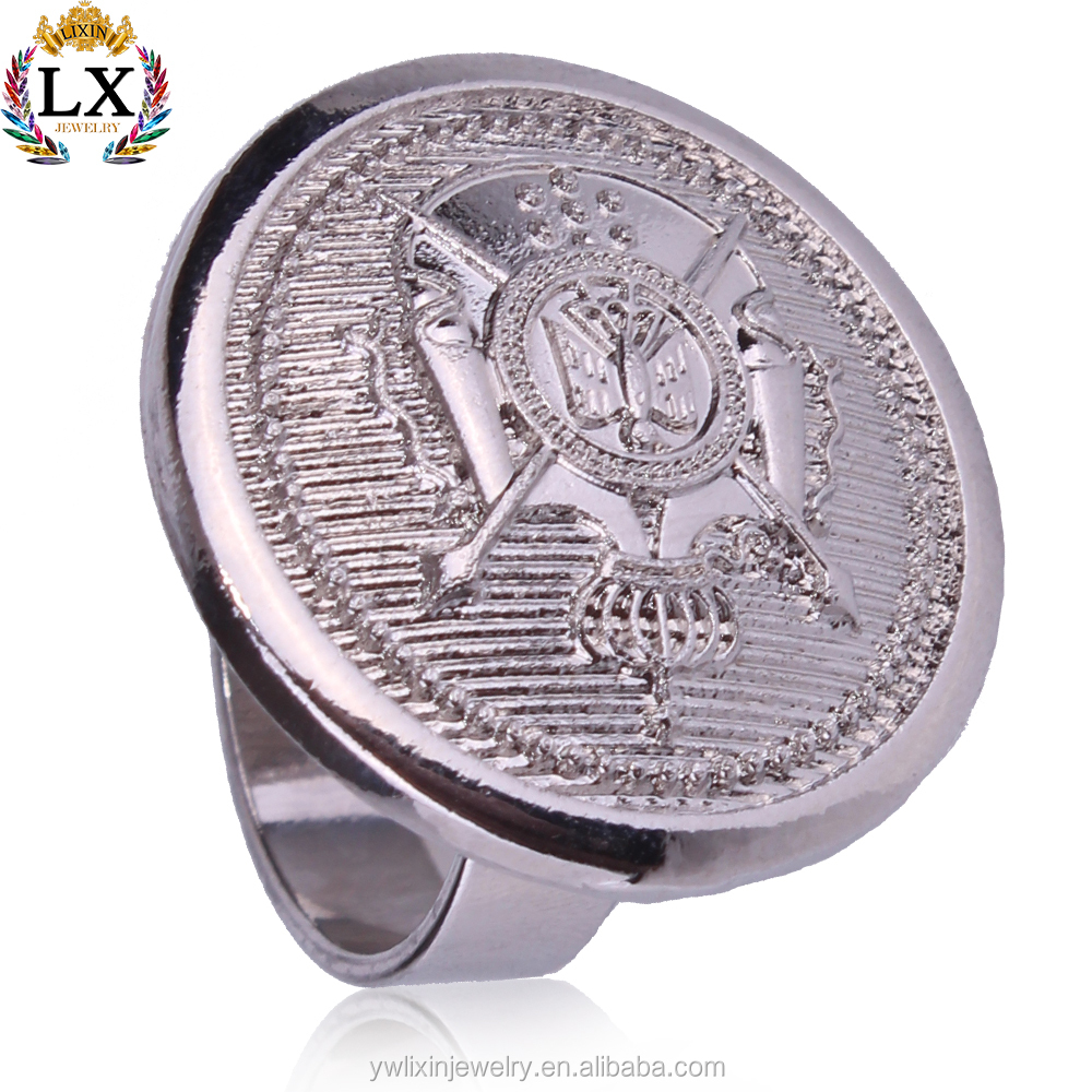 RLX-00078 Royal pattern silver accessories for jewelry round coin shape signet ring men