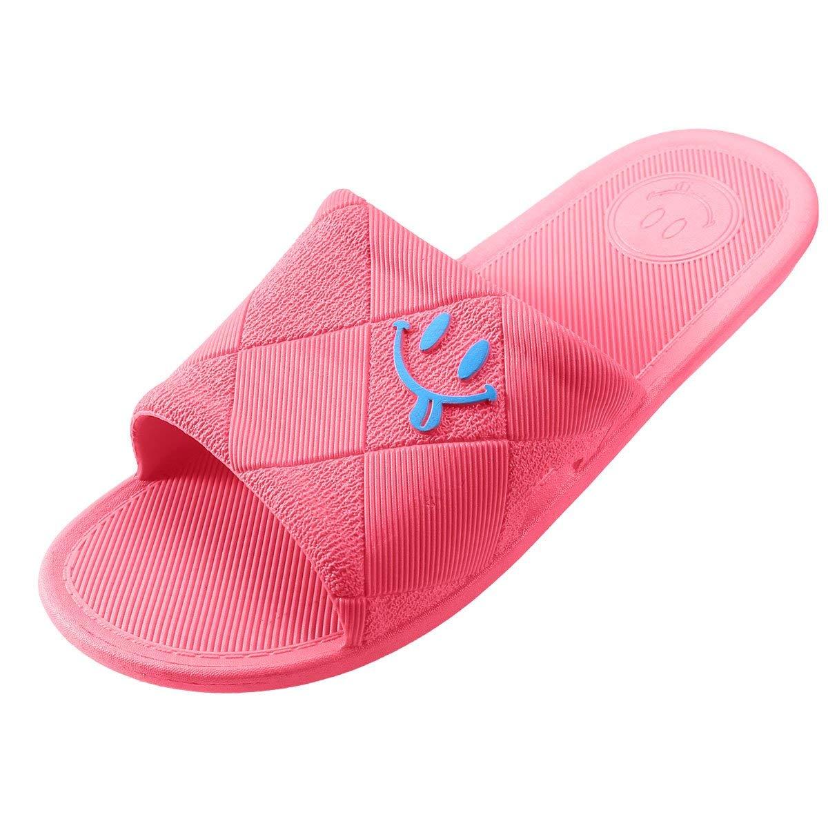 BESIDESTAR Unisex House Slippers, Leisure Smile Indoor Slipper Anti-Slip Bath Open Toe Sandals for Men and Women