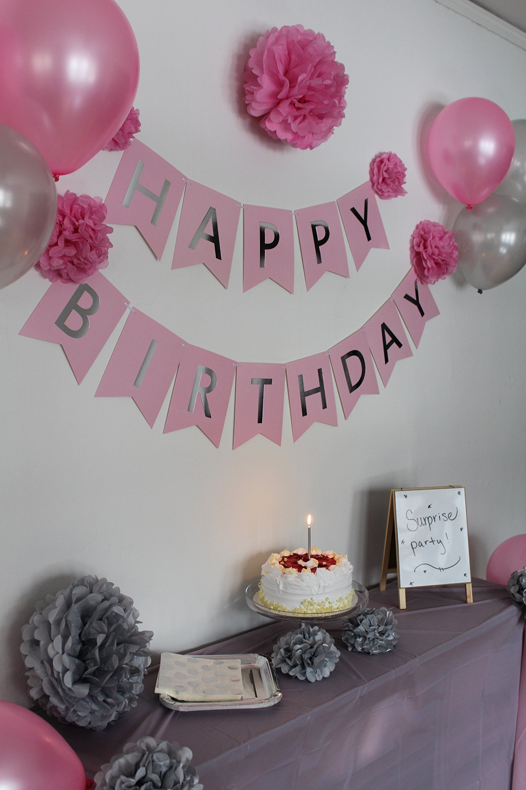 Get Quotations Birthday Decorations For Women And Girls Pink Silver Happy Banner
