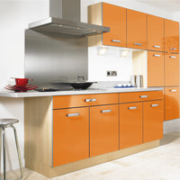 Factory direct sale Acrylic surface treatment yellow kitchen cabinets