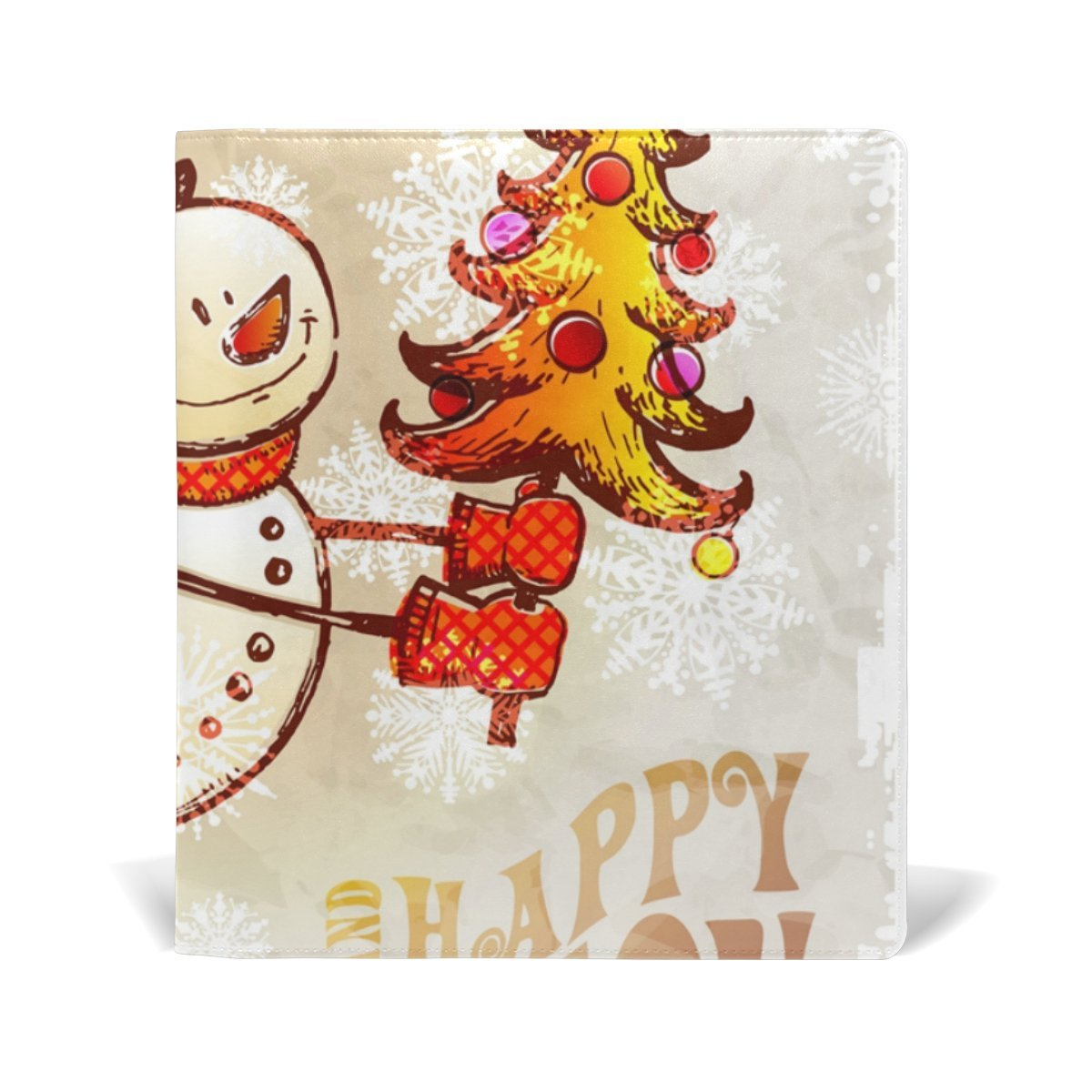 Sunlome Merry Christmas Snowman With Tree Pattern Stretchable PU Leather Book Cover 9 x 11 Inches Fits for School Hardcover Textbooks
