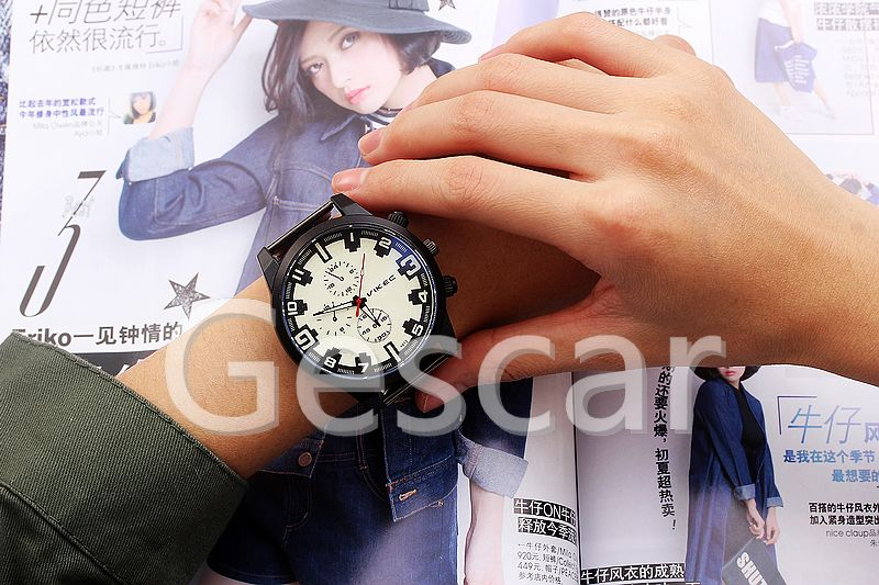 VK-1012 big round dial high quality black alloy belt man wrist watch wholesale