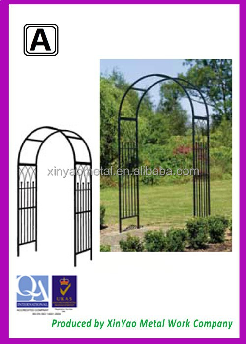 Black Wrought Iron Garden Arch With Bench Outdoor Metal Framed Pergola Ball Decorative Ga090007