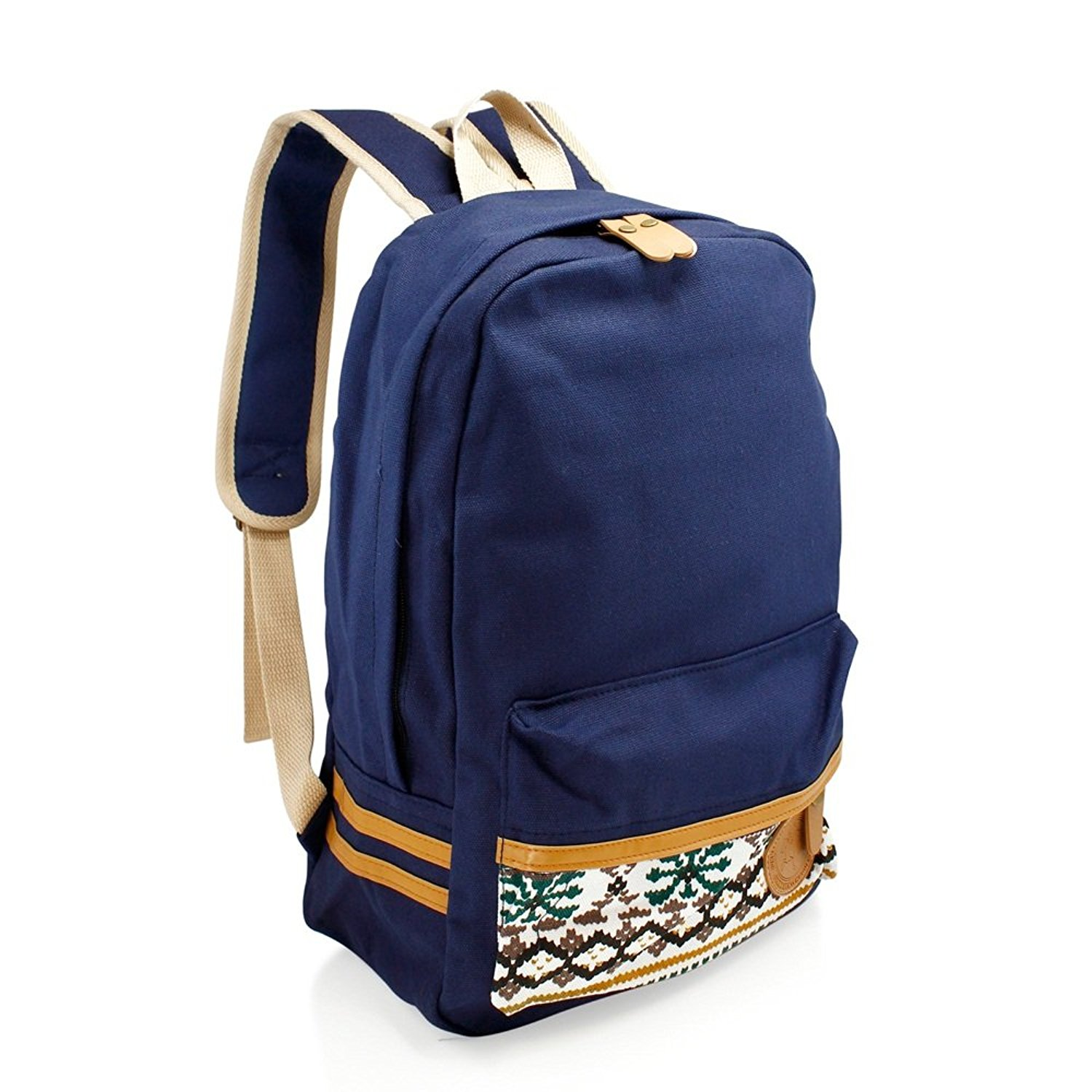 Girls Chic Dark Blue Tribal Backpack Kids Aztec Themed White Tan Trim Carry  On 937e7a462409f