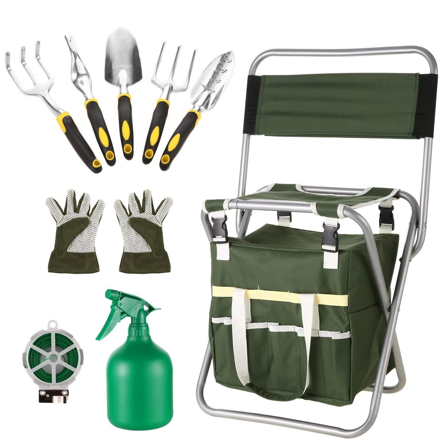 Meflying Garden Tools Kit, 10 Piece Gardening Tool Set, Foldable Stool with Backrest and Zippered Detachable Tote, 5 Gardening Hand Tools, Gloves, Sprayer, 50M Plant Ties (US STOCK)