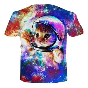 Custom Full Body Sublimation Printing or Screen Print 100 Polyester Men Gym Tye Dye Galaxy Cat T Shirt