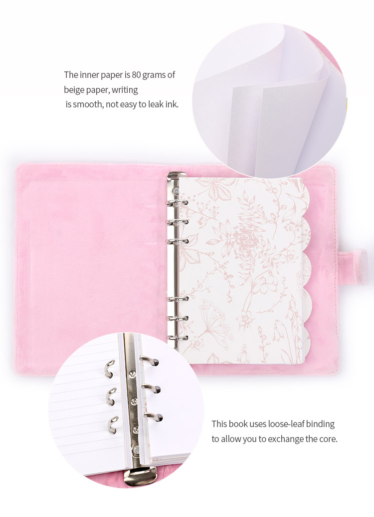 Promotional korean school student stationary custom loose leaf flannel cute erasable notebook manufacturer on sale