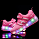 OEM Single wheels shoes with LED skates light new style factory wholesale sport casual led light footwear roller skates