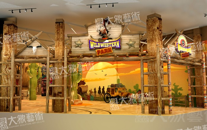 Cow Boy Indoor Them Park Decoration Design