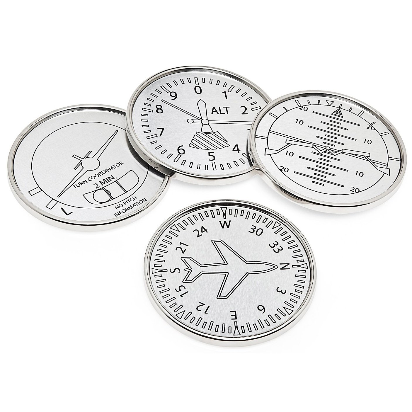 Set Of Four Airplane Instrument Coasters, Elegant Classic Silver Art Aviation Drink Coasters,