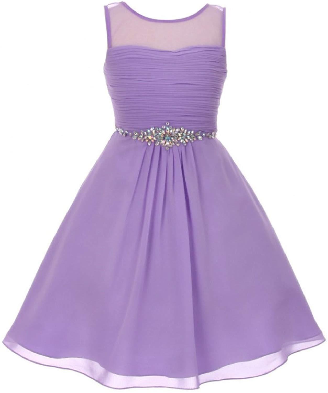 d20d37fae40 Get Quotations · Dreamer P Girls Dress Chiffon Pleated Rhinestone Easter  Summer Flowers Girls Dress 4-16