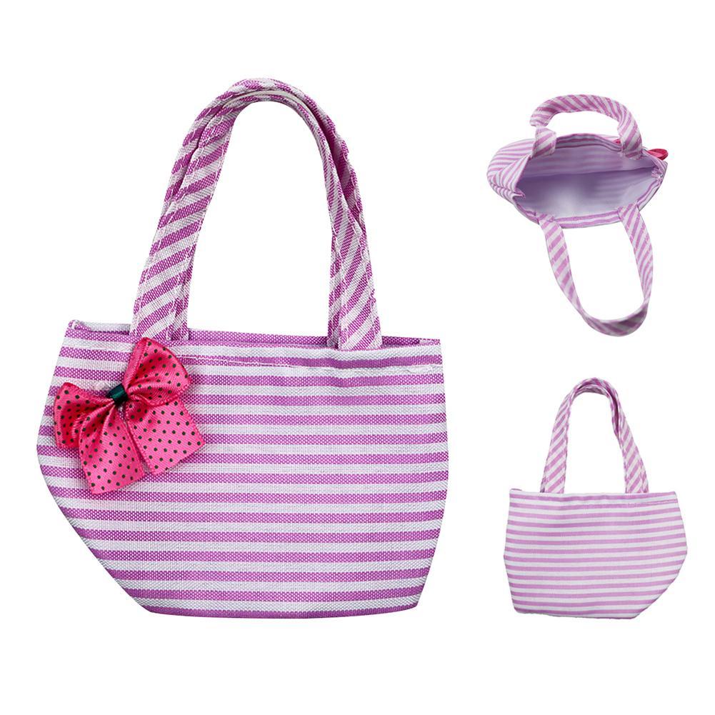 Аксессуары для кукол рюкзак для 18 дюймов аксессуары для кукол розовые горизонтальные полосы сумка для покупок Игрушки для девочек куклы(Китай)