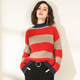 XL Striped computer knit soft mock neck baggy sweater for women
