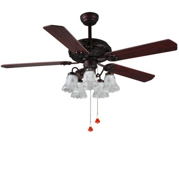 Designer flower led lamp with fan electric remote control 3 speed and light color wood blades shami ceiling fan for living room
