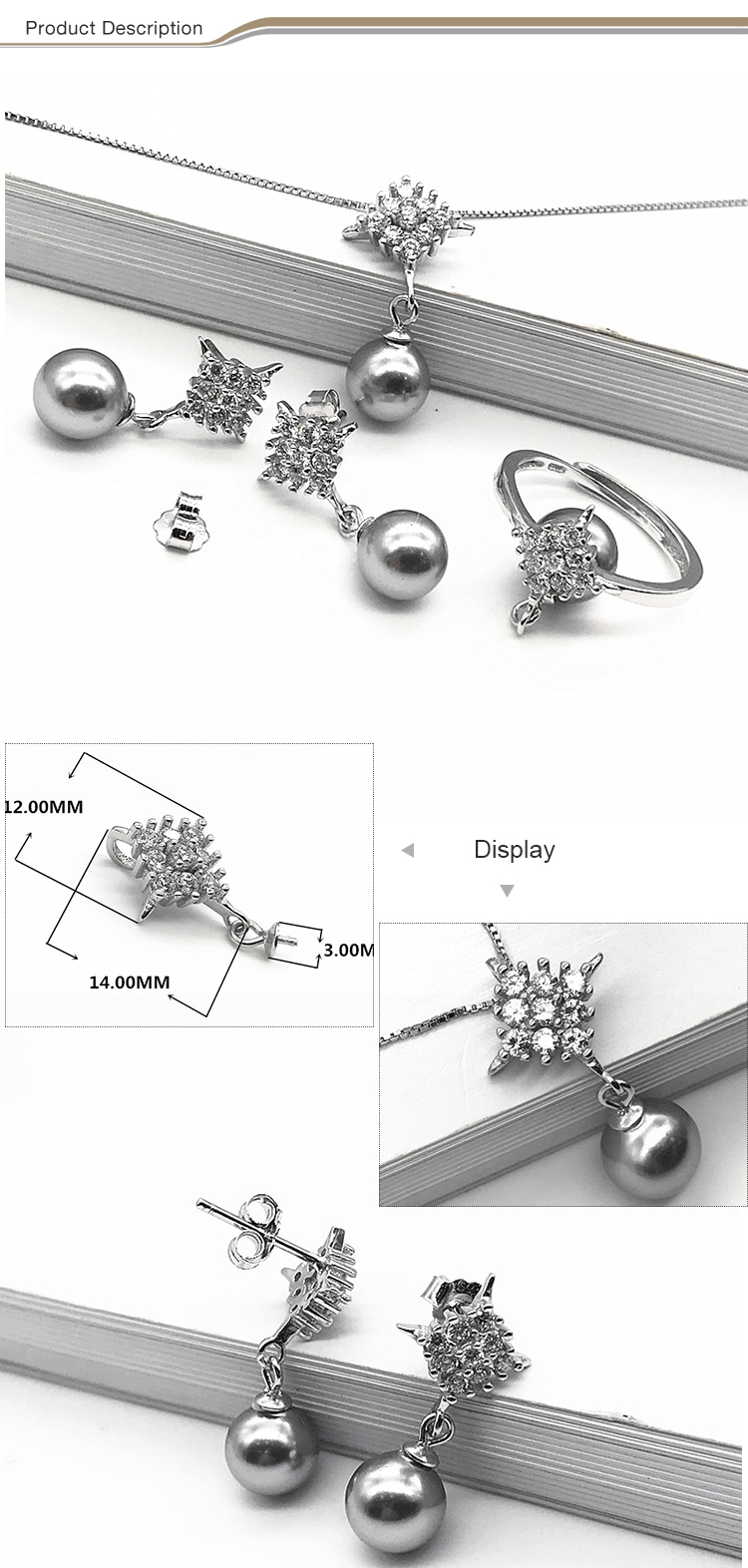 New design fashion women 925 sterling silver pearl jewelry sets