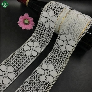 65mm Mesh flowers 100% Cotton Crochet Lace Fabric For Woman Clothes
