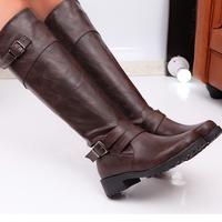 cz18076a New factory wholesale pu leather boots knee winter boots for women