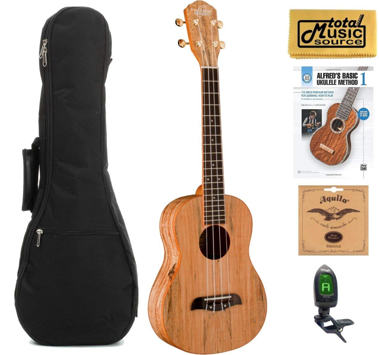 Oscar Schmidt OU8T Tenor Ukulele, Spalted Maple Top, Back and Sides,w/Gigbag,Tuner,Strings,Book & PC