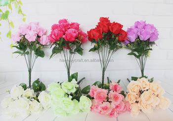 Plastic Rose Flower Bouquet Artificial Decoration