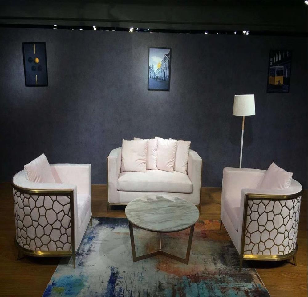 Luxury golden stainless steel modern living room sofa set, View living room  sofa set, Pinmoon Product Details from Foshan Yexuan Furniture Manufacture  ...