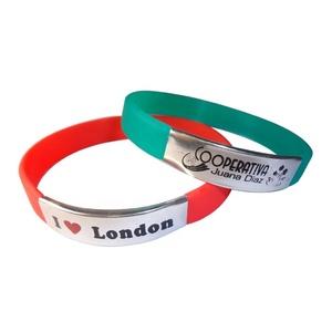 Pulsera de silicona cheap custom segmented rubber silicone bracelet with aluminum metal