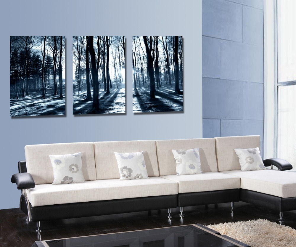 forest and sunset sunlight winter  woods 3 Panel canvas print painting Modern Wall Art Home Decoration Living Room