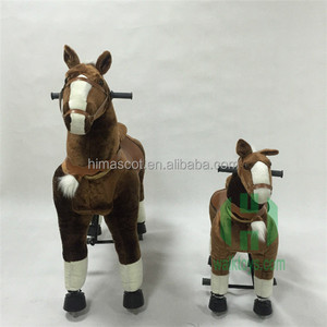 2017 Hot sale plush mechanical riding horse,playful plush rocking horse for kids