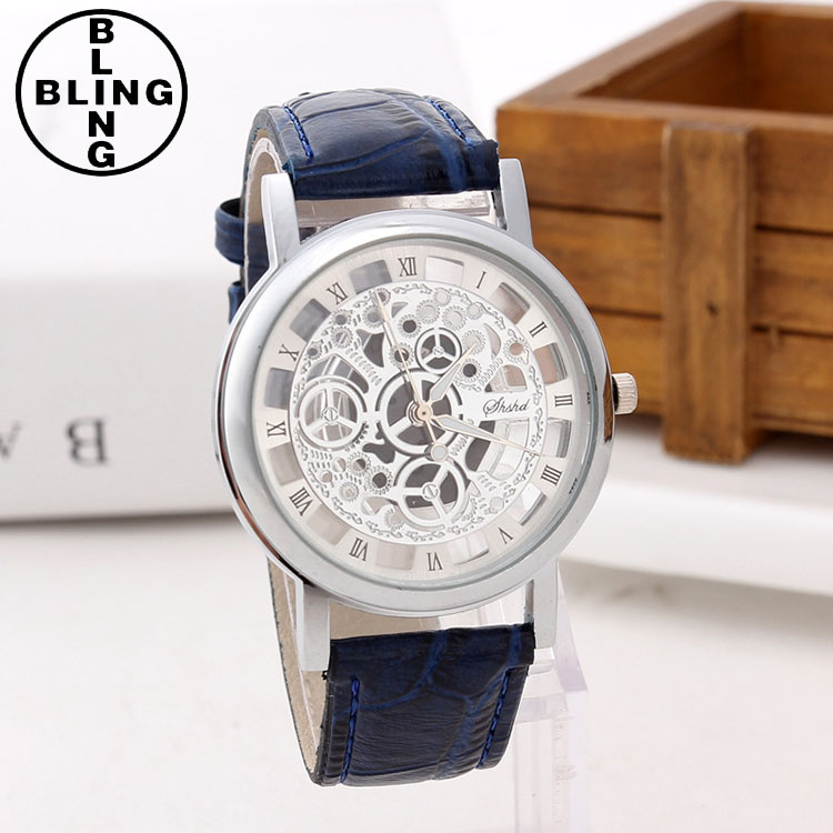 >>>2017 Leather Band Stainless Steel Skeleton Mechanical Men Watch For Man Gold Silver Mechanical Sport WristWatch/