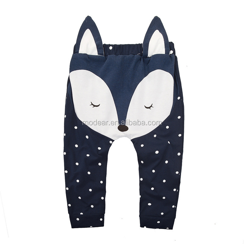 kids harem pants with cartoon fox printed and polka dots 100% cotton long baby pants