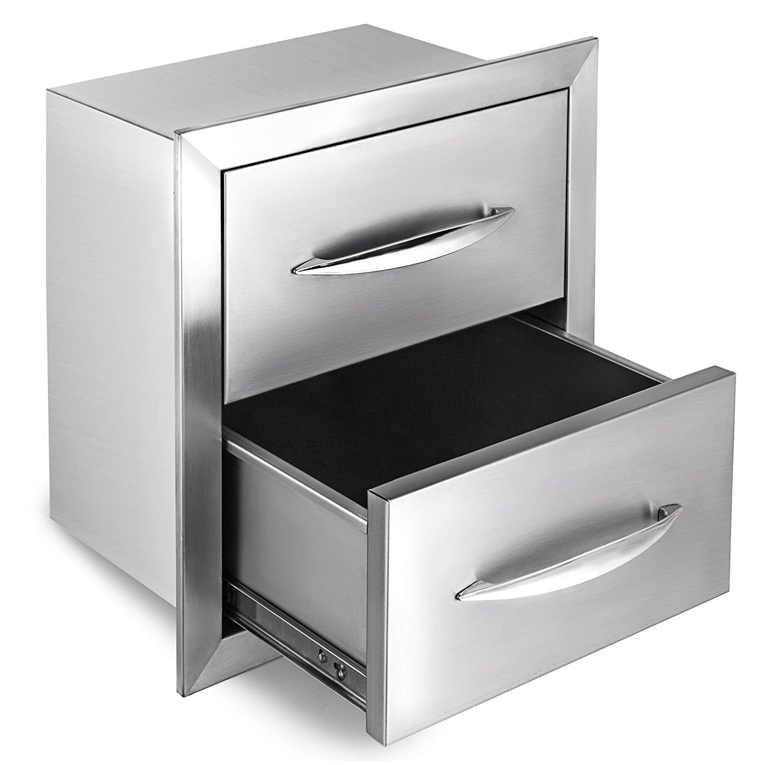 """Happybuy Outdoor kitchen drawer 18""""x15"""" Stainless steel BBQ Island Drawer storage with Chrome Handle Double Access Drawer Flush Mount Sliver Double Access Drawer (Outdoor kitchen drawer 18""""x15"""")"""