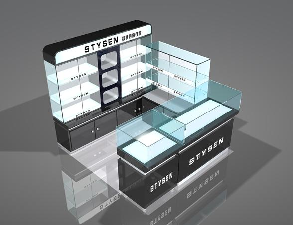Names Laptop Shop Interior Design Kiosk Display Showcase With Led Light