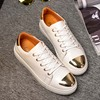 Large size shoe stylish metal design lace up men's sneakers shoes size 39-45