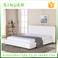 Upholstered white pu leather wooden queen king size bed in china