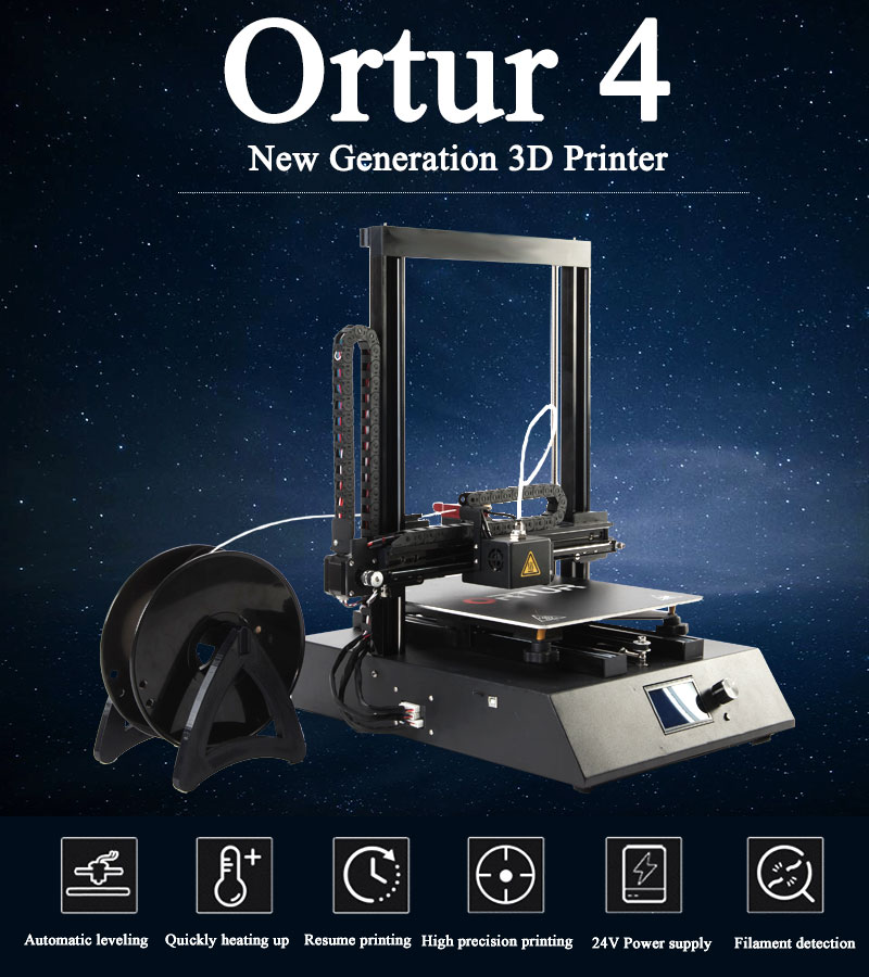 Desktop Home and Office Use 3d Printer Heating Bed Ortur-4 Auto Level 3d Printing Machine Linear Guide Rail 3d Printer