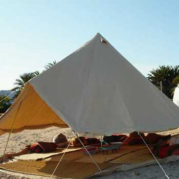 Camping 5m Star Canopy Cotton Canvas Bell Tent with Wood Burning Stoves