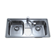 304 Stainless steel sink, double bowls with small drainboard European style sink, 0.8mm pressed kitchen sink