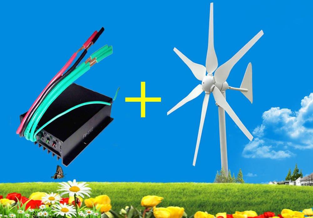 Higoo 300W Three-phase AC12-Volt/AC24-Volt Hyacinth Wind Turbine, Residencial Wind Generator 6-Blade + Wind Charge Charging Controller Regulator Kit (AC12V)