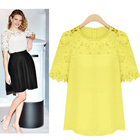 Instyles free patterns of blouse Lace Sleeve Splicing Chiffon laced Casual Shirt Tops Blouse 3 Colors 4 Sizes Z Clothing