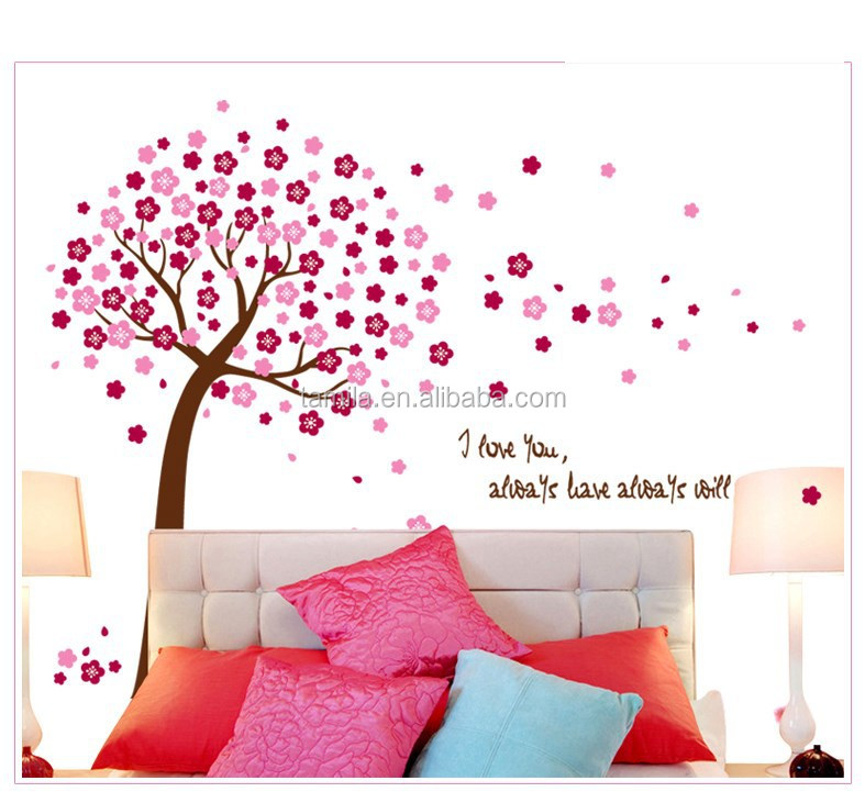 Pvc Sakura Red Flowers Large Size Wall Decoration Sticker Room Decor Stickers Home Self Adhesive