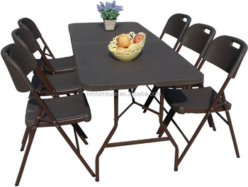 Rattan Surface Plastic Folding Table And Chair Set Buy Folding Table Product On Alibaba Com
