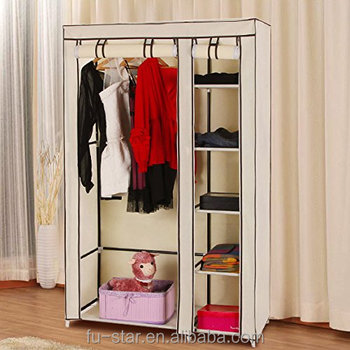 PN Clothes Closet Portable Wardrobe Storage Organizer With Shelves Beige  43u0026quot; Non Woven Fabric